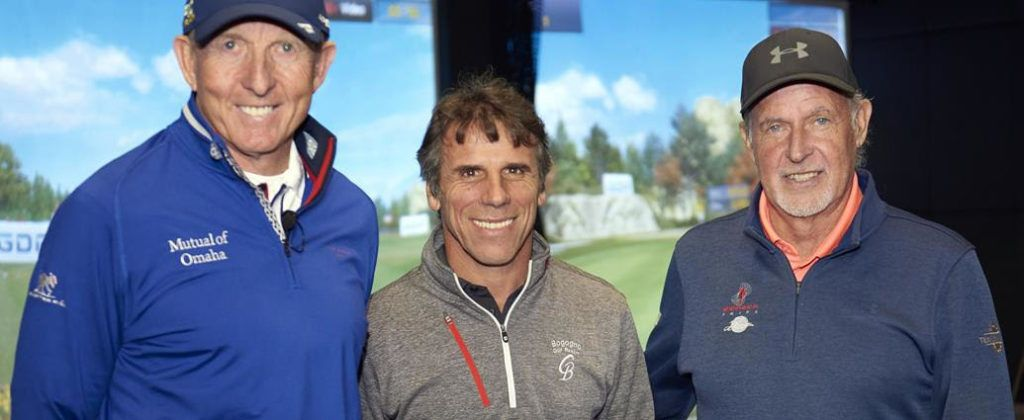 David Leadbetter, Gianfranco Zola and JJ Rivet in front of a Golfzon simulator.