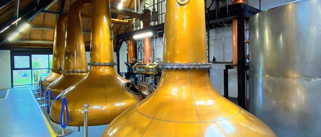 The stills in the Arran Distillery.