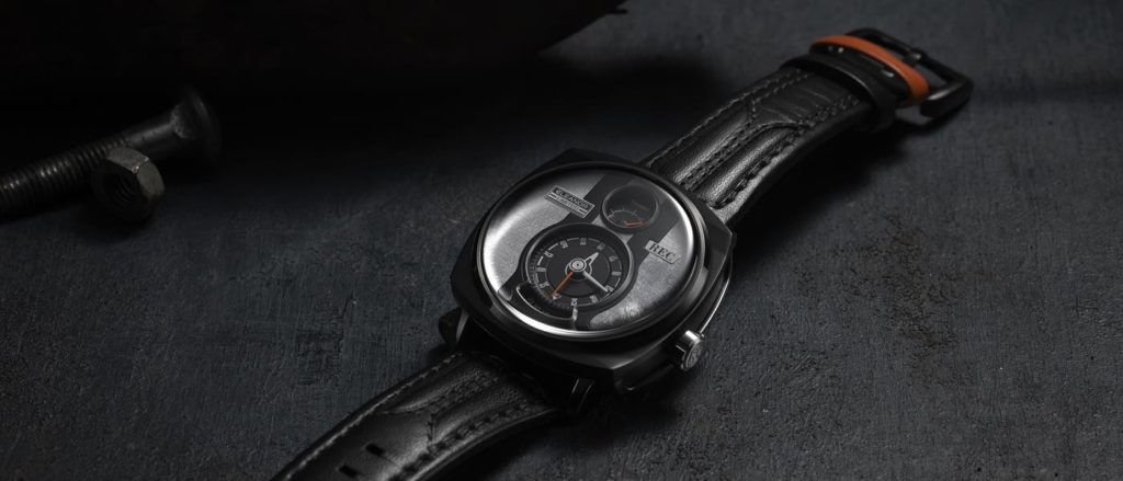 The P-51 Eleanor watch features a thick calf-leather strap.