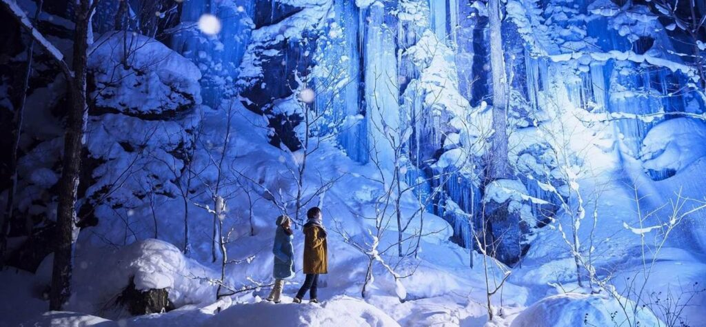 Winter in Japan - The Illuminated Ice Falls of Oirase Gorge