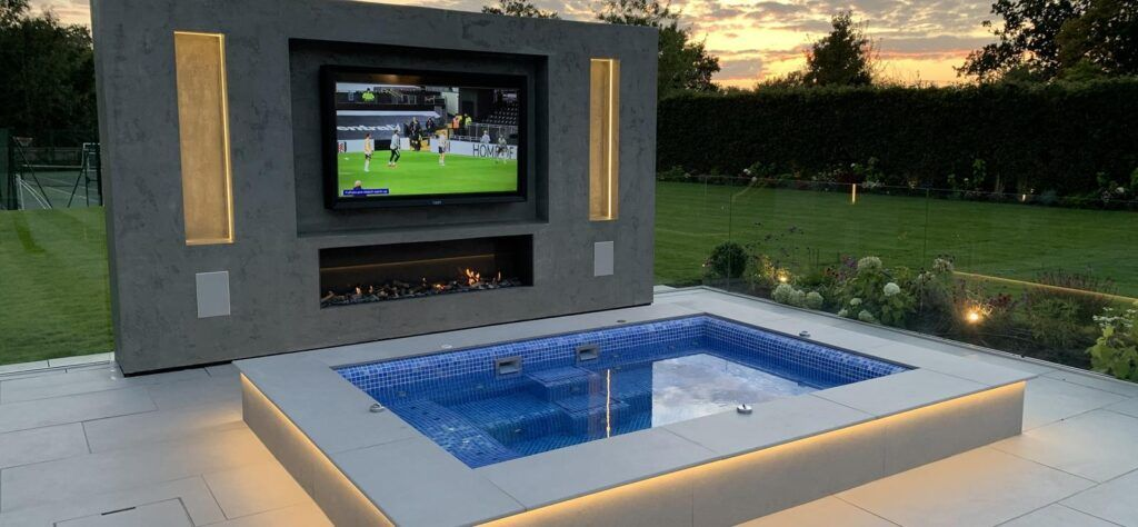 home swimming pool with TV